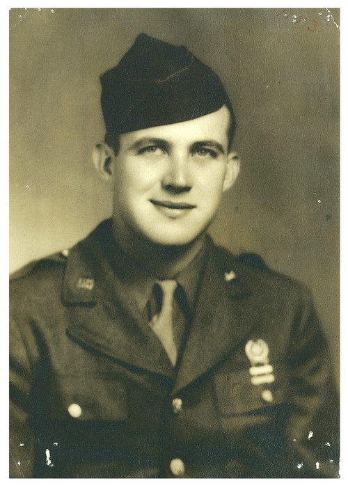 | Courtesy Jim Eyler  Gayle Eyler poses in this photo dated 1943. Eyler served in World War II and wrote an account saying Omaha Beach was named for him and Utah Beach was named for a soldier from Provo, Utah, named Sam. Both soldiers were carpenters on the staff of Gen. Omar Bradley.