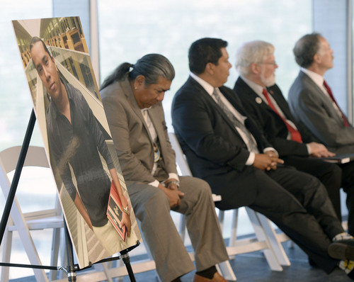 Al Hartmann  |  The Salt Lake Tribune Friends, family, members of the Ute Tribe and University of Utah officials gathered at the University of Utah Friday May 30 to announce a new law school scholarship for members of the Ute tribe in honor of David Arapene Cuch, (in photo at left), who died in his third year of law school in 2007. The scholarship will be funded by his friends and family.