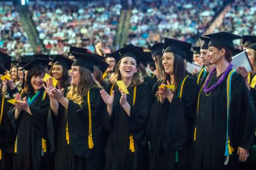 Chris Detrick  |  The Salt Lake Tribune Students applaud during Westminster College's Commencement at the Maverik Center Saturday May 31, 2014. 977 students graduated.