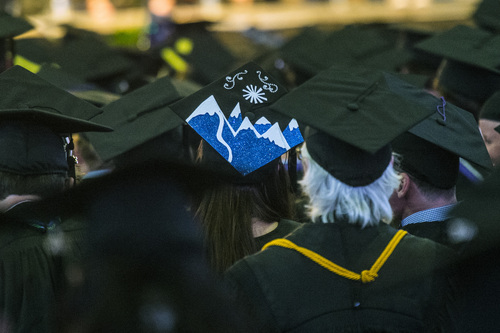 Chris Detrick  |  The Salt Lake Tribune Students listen during Westminster College's Commencement at the Maverik Center Saturday May 31, 2014. 977 students graduated.