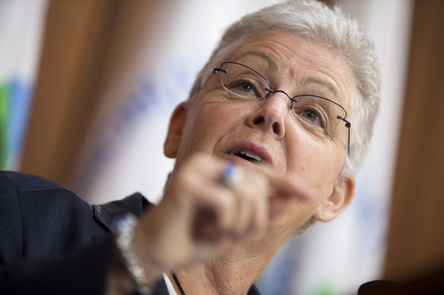 Environmental Protection Agency (EPA) Administrator Gina McCarthy gestures during an announcement of a plan to cut carbon dioxide emissions from power plants by 30 percent by 2030, Monday, June 2, 2014, at EPA headquarters in Washington. In a sweeping initiative to curb pollutants blamed for global warming, the Obama administration unveiled a plan Monday that cuts carbon dioxide emissions from power plants by nearly a third over the next 15 years, but pushes the deadline for some states to comply until long after President Barack Obama leaves office. (AP Photo/ Evan Vucci)