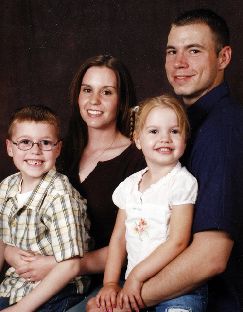 Above, Army Staff Sgt. Kurt Curtiss, wife Elizabeth, son Joshua and daughter Cecilia, from September 2006. South Ogden native, Army Staff Sgt. Kurt Curtiss was on a recovery mission at a hospital with his unit when he was caught in crossfire and killed, said his sister, Lynn Burr. Curtiss has lived in both Utah and Arizona. He served two tours of duty in Iraq before being transferred to Fort Richardson in Alaska. He was deployed to Afghanistan last year, and had been home for a visit about a month ago. Photo by Leah Hogsten/ The Salt Lake Tribune S. Ogden 8/28/09