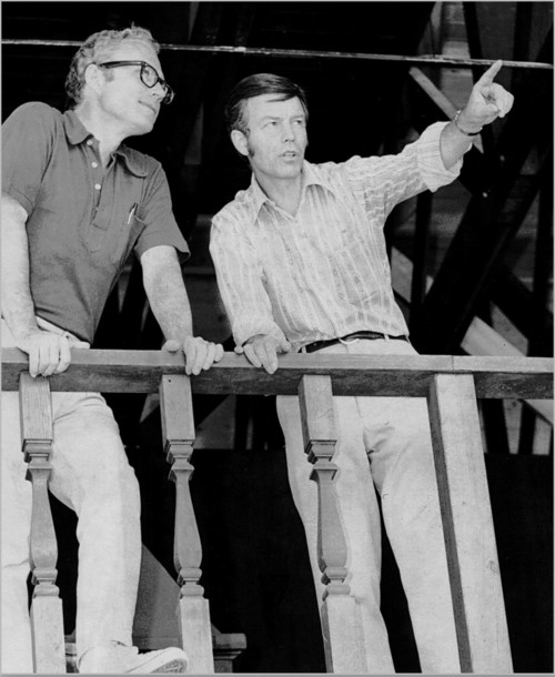 Courtesy photo Douglas N. Cook working with Fred C. Adams at the Utah Shakespeare Festival in 1972..