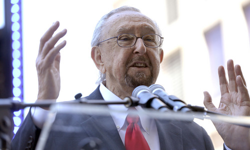 Al Hartmann  |  The Salt Lake Tribune Internationally renowned architect Cesar Pelli speaks at the groundbreaking for the new George S. and Dolores Dore' Eccles Theater on Regent Street in Salt Lake Tuesday June 3.