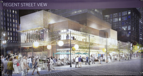 Al Hartmann  |  The Salt Lake Tribune Artist rendering of the new George S. and Dolores Dore' Eccles Theater seen from the Regent Street side.  Salt Lake City officials and benafactors for the Utah Performing Arts Center break ground for the new project at Regent Street Tuesday June 3.