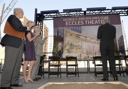 Al Hartmann  |  The Salt Lake Tribune Local businessman and philanthropist Spencer Eccles, left, stands as a banner for the new George S. and Dolores Dore' Eccles Theater is revelaed at a ground breaking on Regent Street in Salt Lake City Tuesday June 3.