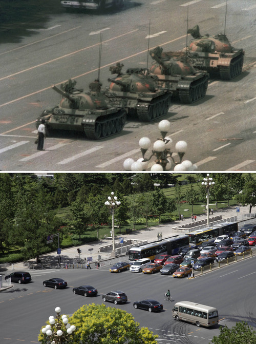 In this two-picture combo, a file photo taken June 5, 1989, top, shows a lone Chinese man standing to block a line of tanks heading east on Beijing's Changan Blvd. near Tiananmen Square, and in a May 27, 2014 photo of the same spot, bottom, almost 25 years later, a convoy of cars drive across Beijing's Changan Blvd. near Tiananmen Square. A quarter century after the Communist Party's attack on demonstrations centered on Tiananmen Square on June 4, 1989, the ruling party prohibits public discussion and 1989 is banned from textbooks and Chinese websites. (AP Photo/Jeff Widener, top, Helene Franchineau, bottom)