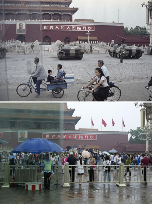 In this combination of photos, a June 13, 1989 file photo, top, shows people cycling past armored vehicles parked in front of Tiananmen Gate near the square where students rallied for democratic reforms, and in the same spot almost 25 years later, a May 24, 2014 photo, bottom, shows a security guard watching an empty bicycle lane, still cordoned off from an area in front of Tiananmen Gate. A quarter century after the Communist Party's attack on demonstrations centered on Tiananmen Square on June 4, 1989, the ruling party prohibits public discussion and 1989 is banned from textbooks and Chinese websites. (AP Photo/Sadayuki Mikami, top, Alexander F. Yuan, bottom)