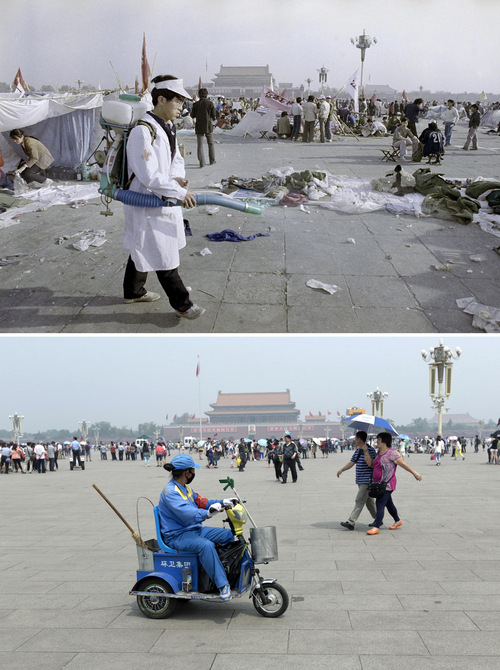In this combination of photos, a May 26, 1989 file photo, top, shows a sanitation worker cleaning up Tiananmen Square which had been occupied by student protesters, and the same spot almost 25 years later, in a May 22, 2014 photo, bottom, a cleaner, wearing a red armband who is part of the civilian security informers, watches tourists on her electric tricycle in Beijing. A quarter century after the Communist Party's attack on demonstrations centered on Tiananmen Square on June 4, 1989, the ruling party prohibits public discussion and 1989 is banned from textbooks and Chinese websites. (AP Photo/Jeff Widener, top, Alexander F. Yuan, bottom)