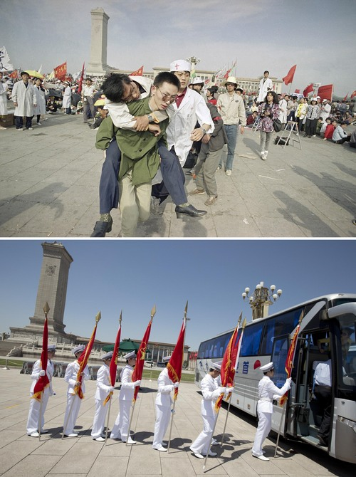 In this combination of photos, a May 16, 1989 file photo, top, shows medics rushing a Beijing University student from Tiananmen Square after he collapsed on the third day of a hunger strike, and 25 years later, in a May 29, 2014 photo, bottom, high school students dressed in uniforms carry red flags onto a bus after they performed a ceremonial post guarding of Young Pioneers, a youth group under the Chinese Communist Party, around the Monument to the People's Heroes on Tiananmen Square. Elite members of youth Communist groups in schools are organized to guard the posts as a nationalistic and party loyalty education. A quarter century after the Communist Party's attack on demonstrations centered on Tiananmen Square on June 4, 1989, the ruling party prohibits public discussion and 1989 is banned from textbooks and Chinese websites. (AP Photo/Sadayuki Mikami, top, Alexander F. Yuan, bottom)