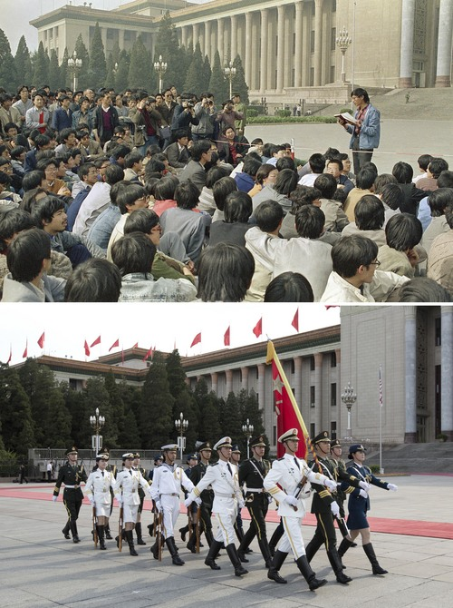In this combination of photos, an April 18, 1989 file photo, top, shows a Chinese student leader reading a list of demands to students staging a sit-in in front of the Great Hall of the People in Beijing, and at the same venue almost 25 years later, a May 29, 2014 photo, bottom, shows Chinese People's Liberation Army (PLA) soldiers marching to their positions before an honor guard performance for a welcome ceremony. A quarter century after the Communist Party's attack on demonstrations centered on Tiananmen Square on June 4, 1989, the ruling party prohibits public discussion and 1989 is banned from textbooks and Chinese websites. (AP Photo/Kathy Wilhelm, top, Alexander F. Yuan, bottom)
