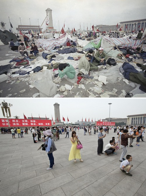 "In this combination of photos, a May 28, 1989 file photo, top, shows students resting in litter on Tiananmen Square as their strike for government reform enters its third week, and 25 years later, in a May 31, 2014 photo, bottom, Chinese tourists use their smart phones and digital cameras to take souvenir photos as slogans are shown on electric screens on Tiananmen Square, in Beijing. The words in the slogans are ""Prosperity, Democracy, Civilization, Harmony, Justice, Rule of Law, Patriotism, Professional Dedication, Integrity, Friendliness."" A quarter century after the Communist Party's attack on demonstrations centered on Tiananmen Square on June 4, 1989, the ruling party prohibits public discussion and 1989 is banned from textbooks and Chinese websites. (AP Photo/Jeff Widener, top, Alexander F. Yuan, bottom)"