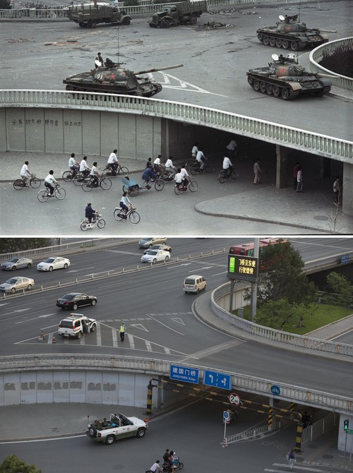 "In this combination of photos, a June 6, 1989 file photo, top, shows cyclists passing by slogans which read ""Mobilize all citizens to crush martial law, protect Beijing,"" under a bridge where tanks are positioned on Changan Blvd., a road leading to Tiananmen Square, and almost 25 years later, in a May 29, 2014 photo, bottom, a jeep full of armed Chinese paramilitary policemen patrol under the same bridge in Beijing. A quarter century after the Communist Party's attack on demonstrations centered on Tiananmen Square on June 4, 1989, the ruling party prohibits public discussion and 1989 is banned from textbooks and Chinese websites. (AP Photo/Vincent Yu, top, Ng Han Guan, bottom)"