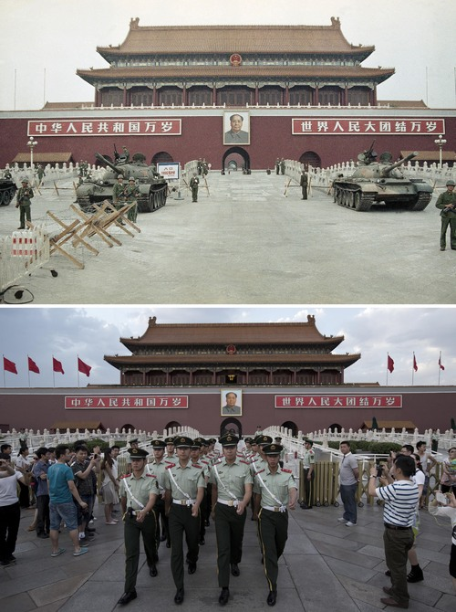 In this combination of photos, a June 10, 1989 file photo, top, shows Peoples Liberation Army (PLA) troops standing guard with tanks in front of Tiananmen Gate, and almost 25 years later, a May 28, 2014 photo, bottom, shows Chinese paramilitary policemen marching through to clear tourists from the area for a flag-lowering ceremony on Tiananmen Square in Beijing. A quarter century after the Communist Party's attack on demonstrations centered on Tiananmen Square on June 4, 1989, the ruling party prohibits public discussion and 1989 is banned from textbooks and Chinese websites. (AP Photo/Sadayuki Mikami, top, Alexander F. Yuan, bottom)