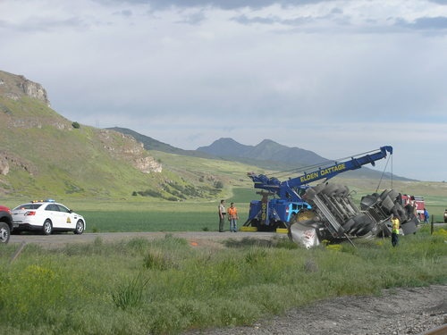 (Utah department of public safety | Courtesy photo) A milk tanker on Highway 23 in Cache County after a rollover on June 4, 2014. Ronal M. Christensen, 58, died in the single vehicle accident.