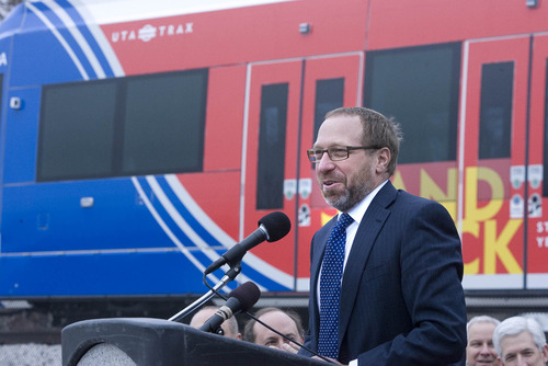 Paul Fraughton | Tribune file photo It was December 2011 when Federal Transit Administrator Peter M. Rogoff signed a document granting the funding to pay for the Draper TRAX extension. The line opened to the public last summer.