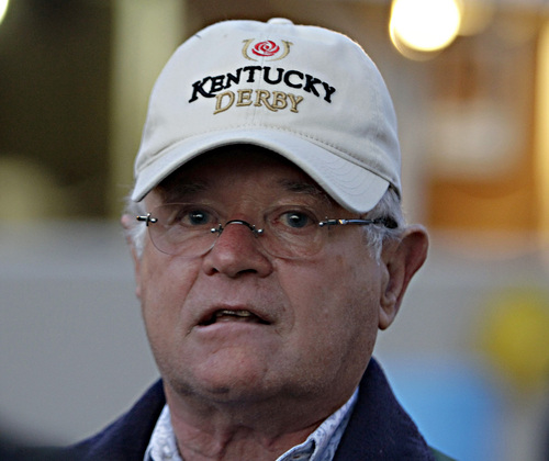 Kentucky Derby winning trainer Art Sherman talks about California Chrome's victory at Churchill Downs in Louisville, Ky., Sunday, May 4, 2014.  (AP Photo/Garry Jones)