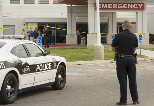 File  |  The Salt Lake Tribune The scene outside Cache Valley Hospital in North Logan in wake of the May 16 shooting.