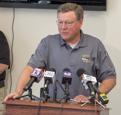 Rick Egan     The Salt Lake Tribune  Chief Kim Fawkes, North Park Police Department, talks about the shooting at the Cache Valley Hospital in Logan on May 16, 2014.