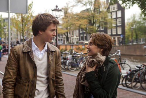 """This image released by 20th Century Fox shows Ansel Elgort, left, and Shailene Woodley appear in a scene from """"The Fault In Our Stars."""" (AP Photo/20th Century Fox, James Bridges)"""