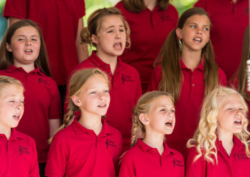 Trent Nelson  |  The Salt Lake Tribune The One Voice Children's Choir sings at a groundbreaking ceremony for the Huntsman Cancer Institute's new wing, the Primary Children's & Families Cancer Research Center, in Salt Lake City, Friday June 6, 2014.