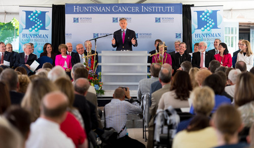 Trent Nelson  |  The Salt Lake Tribune Jon Huntsman, Jr, speaks at the groundbreaking ceremony for the Huntsman Cancer Institute's new wing, the Primary Children's & Families Cancer Research Center, in Salt Lake City, Friday June 6, 2014.
