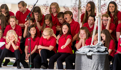 Trent Nelson  |  The Salt Lake Tribune The One Voice Children's Choir listens to a speaker at a groundbreaking ceremony for the Huntsman Cancer Institute's new wing, the Primary Children's & Families Cancer Research Center, in Salt Lake City, Friday June 6, 2014.