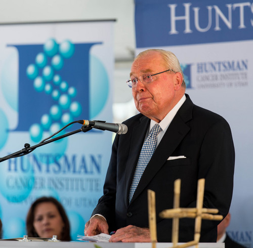 Trent Nelson  |  The Salt Lake Tribune Jon Huntsman, Sr, delivers an emotional speech at the groundbreaking ceremony for the Huntsman Cancer Institute's new wing, the Primary Children's & Families Cancer Research Center, in Salt Lake City, Friday June 6, 2014.