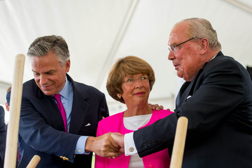 Trent Nelson  |  The Salt Lake Tribune Jon Huntsman, Jr, Karen Huntsman, and Jon Huntsman, Sr, embrace at a groundbreaking ceremony for the Huntsman Cancer Institute's new wing, the Primary Children's & Families Cancer Research Center, in Salt Lake City, Friday June 6, 2014.