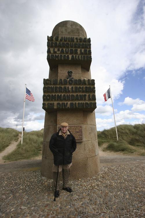 Daniel Nevot visits a D-Day monument in France. Courtesy Patricia Nevot Johnson