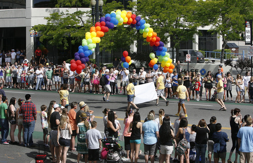 Scott Sommerdorf  |  The Salt Lake Tribune              The 2014 Gay Pride Festival is this weekend with parade on June 8. This 2012 photo, shows revelers in that year's parade.