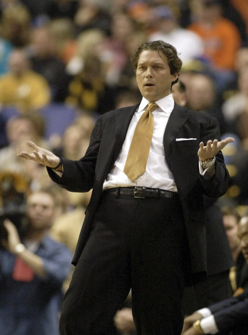 University of Missouri coach Quin Snyder reacts to an officials call in the first half against the University of Illinois Wednesday, Dec. 21, 2005 in the 25th annual Braggin' Rights college basketball game at the Savvis Center in St. Louis.(AP Photo/Tom Gannam)