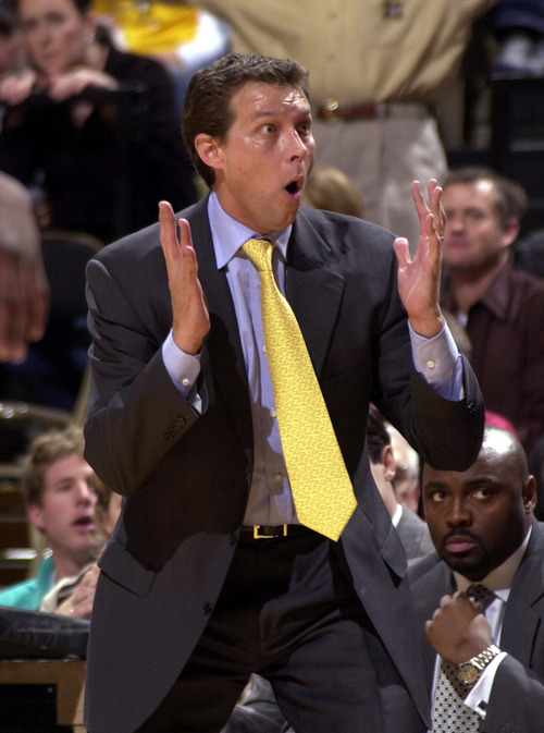 Missouri head coach Quin Snyder reacts to having a technical foul called on him during the first half of their 76-56 victory over Iowa Saturday, Jan. 3, 2004, in Columbia, Mo. (AP Photo/L.G. Patterson)