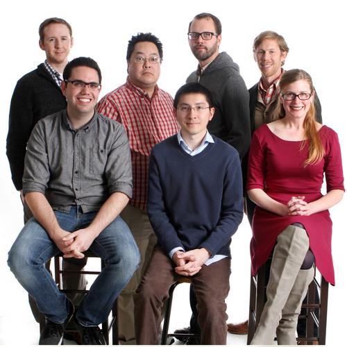 Keith Johnson | The Salt Lake Tribune  Bloggers: (rear, l to r) Matt Piper, Jim Dalrymple, David Newlin, Vince Horiuchi. (front, l to r) Brennan Smith, Michael McFall, Erin Alberty.