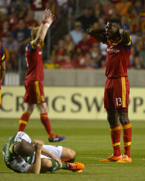 Rick Egan  |  The Salt Lake Tribune  Real Salt Lake forward Olmes Garcia (13) reacts after receiving a yellow card, in MLS soccer action at Rio Tinto stadium, Saturday, June 7, 2014