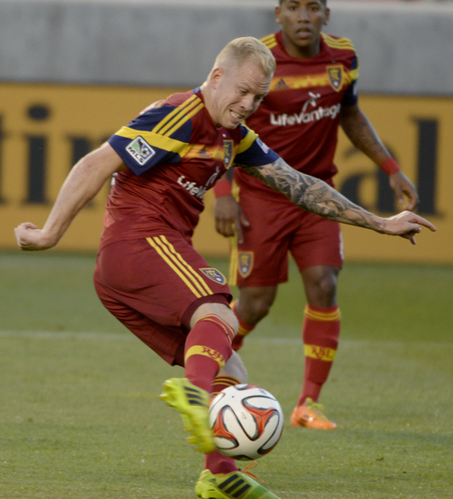 Rick Egan  |  The Salt Lake Tribune  Real Salt Lake midfielder Luke Mulholland (19) scores the first goal of the game, in MLS soccer action at Rio Tinto stadium, Saturday, June 7, 2014