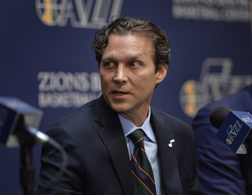 Scott Sommerdorf   |  The Salt Lake Tribune The Utah Jazz introduced Quin Snyder as their new head coach, Saturday, June 7, 2014.
