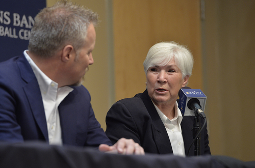 Scott Sommerdorf   |  The Salt Lake Tribune Jazz owner Gail Miller speaks with her son, and Jazz CEO Greg Miller at the press conference that introduced Quin Snyder as the new Utah Jazz head coach, Saturday, June 7, 2014.