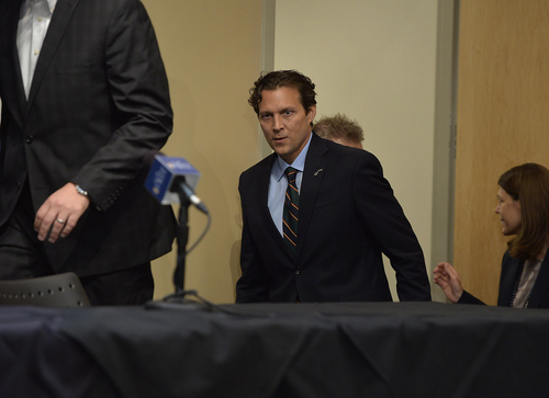 Scott Sommerdorf   |  The Salt Lake Tribune Quin Snyder walks to the press conference table where he will be introduced as the new head coach of the Utah Jazz, Saturday, June 7, 2014.