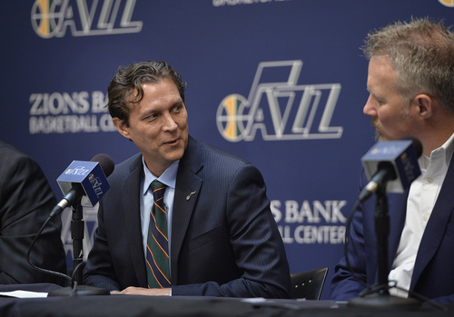 Scott Sommerdorf   |  The Salt Lake Tribune Quin Snyder turns to Jazz CEO Greg Miller, right, as he answers a question about the hiring process. The Utah Jazz introduced Quin Snyder as their new head coach, Saturday, June 7, 2014.