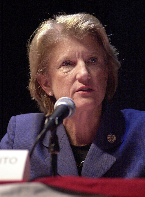 FILE - In this Oct. 13, 2004 file photo, U.S. Rep. Shelley Moore Capito, R-W.Va., speaks during a 2nd District congressional debate, in Shepherdstown, W.Va. The coal industry is shedding thousands of jobs and facing the government's most severe crackdown on carbon emissions yet. But king coal still flexes its political muscle in Kentucky and West Virginia. Capito, the Republican Party nominee in the 2014 U.S. Senate election in West Virginia, has the West Virginia Coal Association's endorsement and has hauled in $264,100 from mining interests. (AP Photo/Ron Agnir, File)