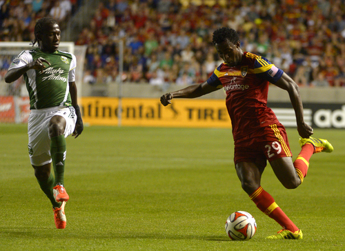 Rick Egan  |  The Salt Lake Tribune  Portland Timbers midfielder Diego Chara (21), defends as Real Salt Lake defender Abdoulie Mansally (29) sets up for the kick, in MLS soccer action at Rio Tinto stadium, Saturday, June 7, 2014