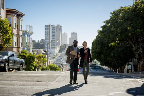 "Eddy Chen | TNT  SFPD detectives Terry English (Taye Diggs) and Hildy Mulligan (Kathleen Robertson) investigate a pair of seemingly unrelated homicides in ""Murder In the First."""