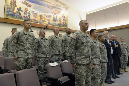 Al Hartmann  |  The Salt Lake Tribune Army soldiers at Dugway Proving Ground and officials from Raytheon hold a closeout ceremony for the JLENS project Tuesday June 10.  The JLENS will be moving to Aberdeen Proving Ground in Maryland.