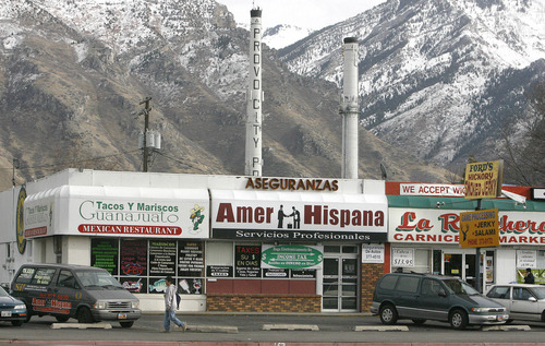 Latino businesses  clustered together in a strip mall at 500West and 800 North in Provo. photo: paul fraughton 1/11/06