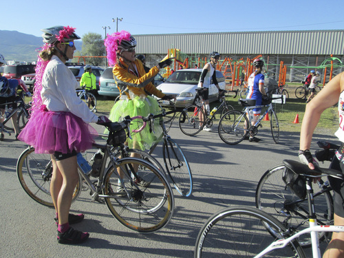 Kristen Moulton | Salt Lake Tribune  Riders in the Little Red Riding Hood Cycling event dressed up for the Carnaval theme on Saturday, June 7, 2014, in Lewiston, Cache County.