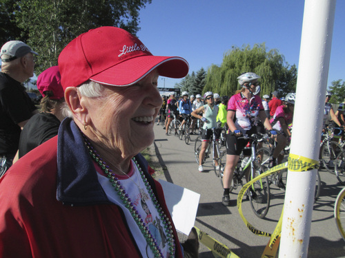 Kristen Moulton | Salt Lake Tribune  Alice Telford, founder of the Little Red Riding Hood all-women cycling ride, watches riders begin their long rides on Saturday, June 7, 2014, in Lewiston, Cache County. Telford, now 90, last rode in Little Red three years ago.