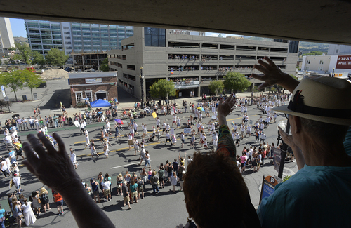 Scott Sommerdorf   |  The Salt Lake Tribune The view from a parking garage on the south side of 200 South at the Salt Lake City Pride Parade, Sunday, June 7, 2014.