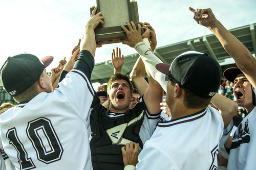 Chris Detrick  |  The Salt Lake Tribune Jordan's Colton Shaver (12) holds up the trophy as he celebrates with their teammates after winning the 5A state championship at Brent Brown Ballpark Friday May 23, 2014. Jordan defeated Pleasant Grove 4-3.