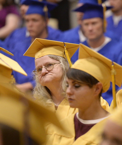 Al Hartmann  |  The Salt Lake Tribune Inmates of a wide range of ages graduated at the Utah State Prison in Draper Wednesday June 11, 2014. Two hundred seventy-three male and female inmates received their high school diplomas.